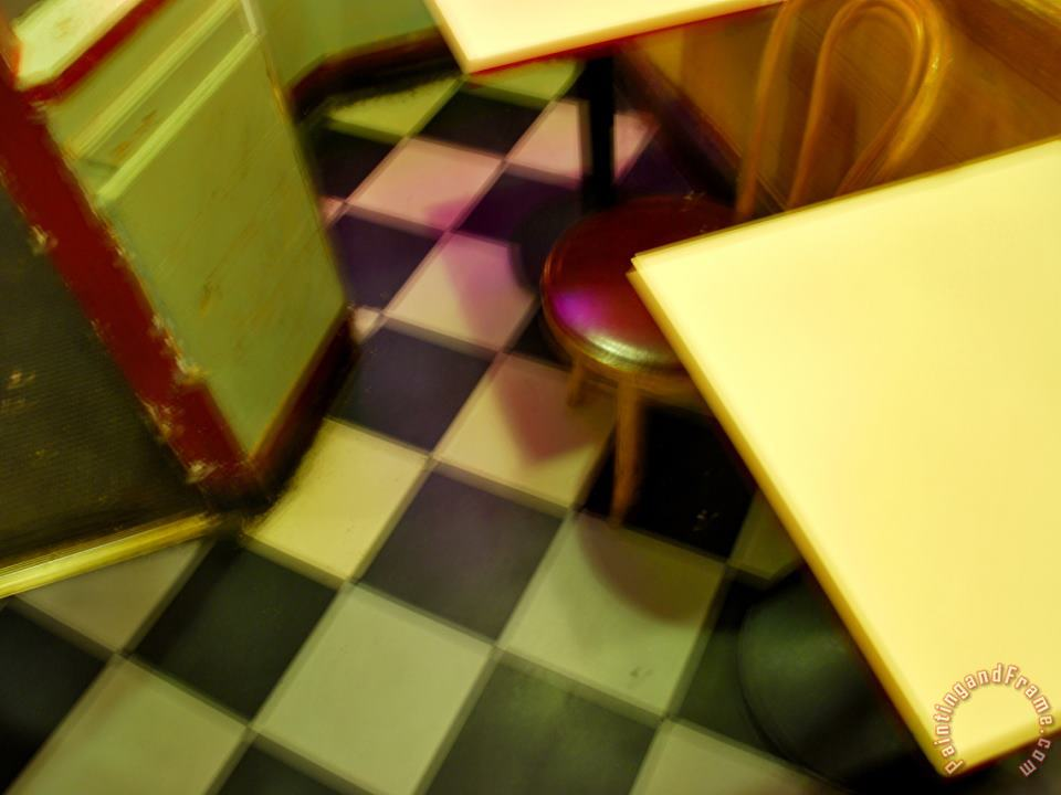 Raymond Gehman Table And Chairs in a San Francisco Pizza Shop Art Painting