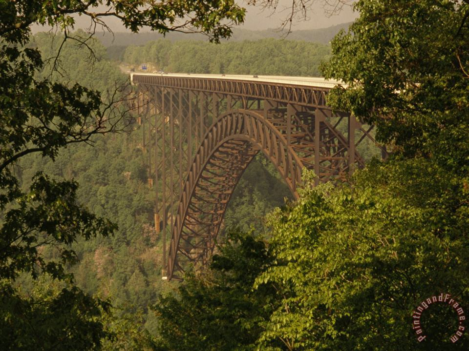 View of The New River Gorge Bridge From One Side painting - Raymond Gehman View of The New River Gorge Bridge From One Side Art Print