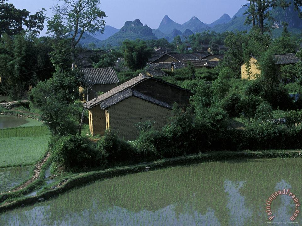 Yangdi Valley Farm Fields Guilin Guangxi China painting - Raymond Gehman Yangdi Valley Farm Fields Guilin Guangxi China Art Print