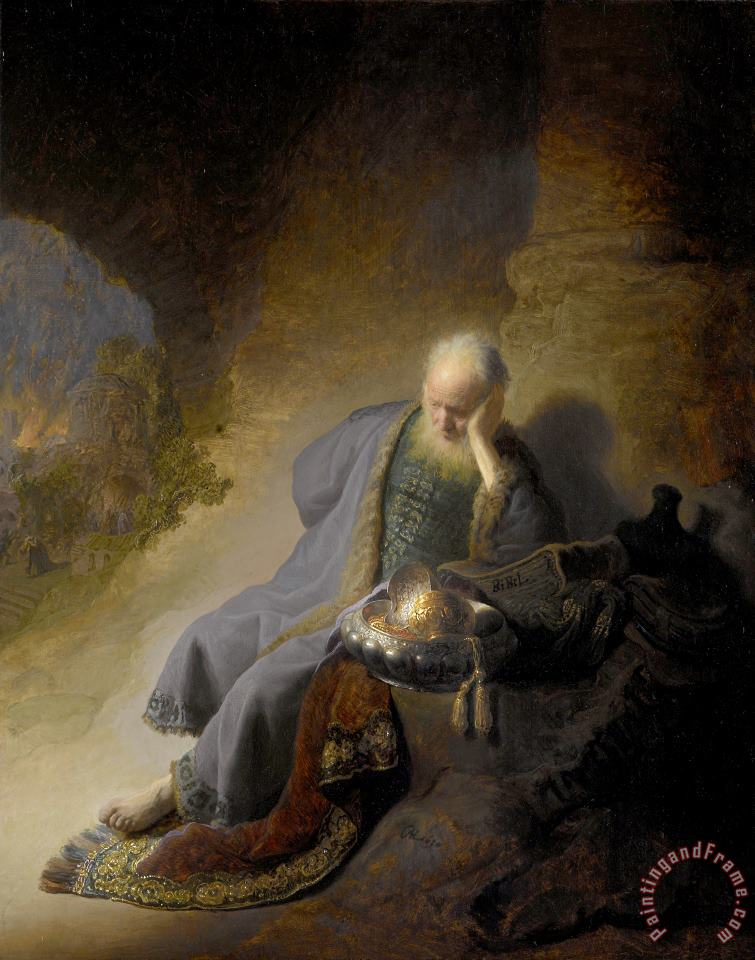 Jeremiah Lamenting The Destruction of Jerusalem painting - Rembrandt Jeremiah Lamenting The Destruction of Jerusalem Art Print