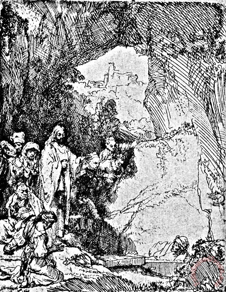 Raising Of Lazarus Rembrandt Engraving painting - Rembrandt Raising Of Lazarus Rembrandt Engraving Art Print