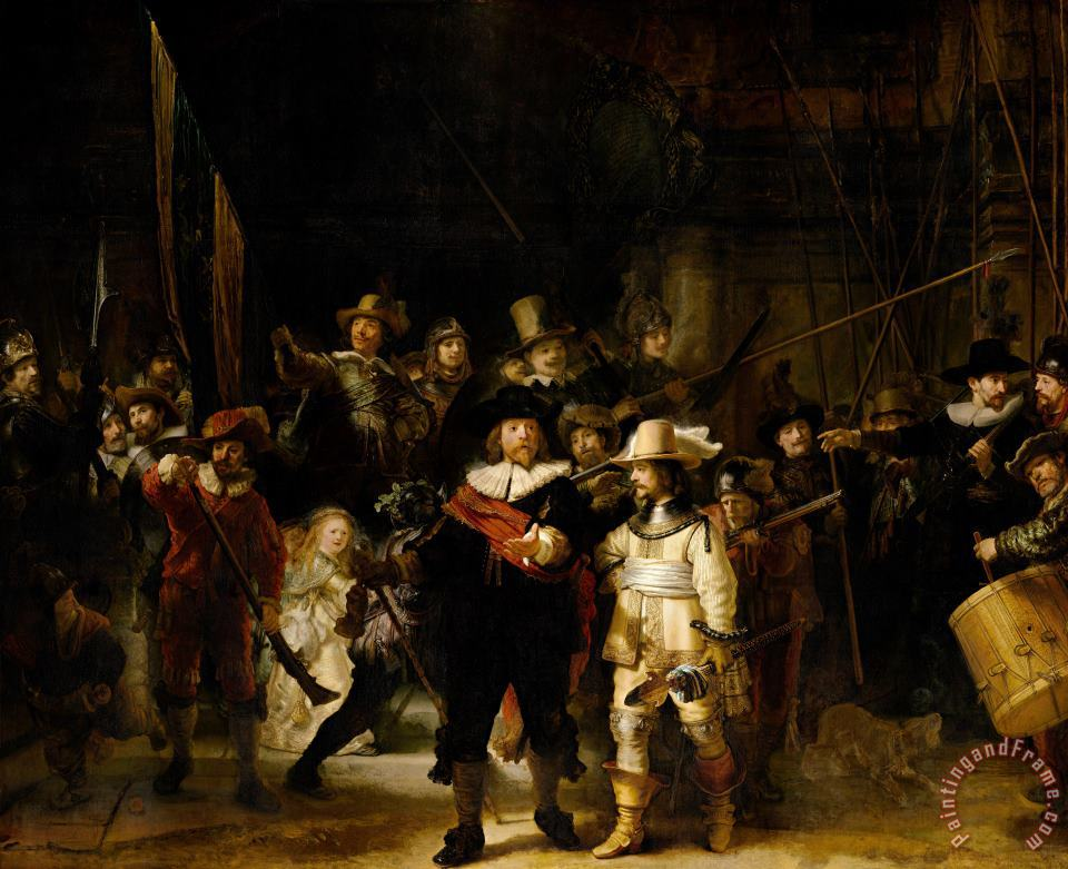 Rembrandt The Company of Frans Banning Cocq And Willem Van Ruytenburch, Known As The 'night Watch' Art Painting