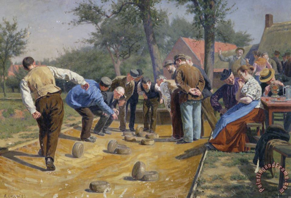 Playing Boules Iin a Flemish Village painting - Remy Cogghe Playing Boules Iin a Flemish Village Art Print
