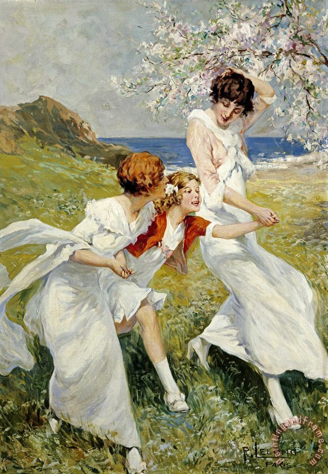 A Spring Day by The Seashore painting - Rene Lelong A Spring Day by The Seashore Art Print