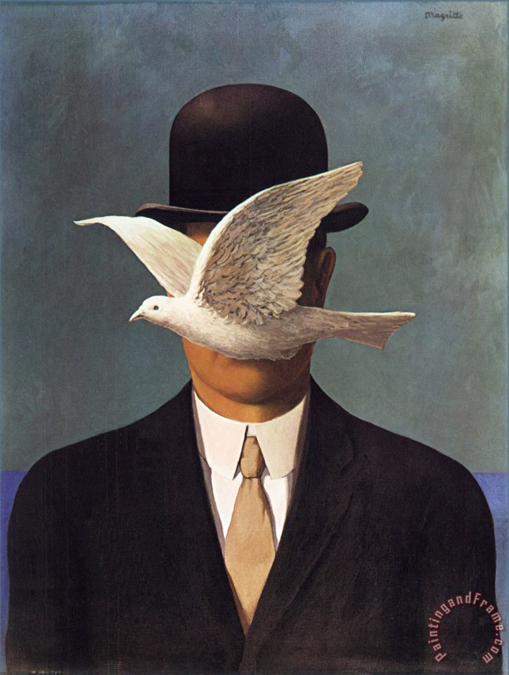 Man in a Bowler Hat 1964 painting - rene magritte Man in a Bowler Hat 1964 Art Print