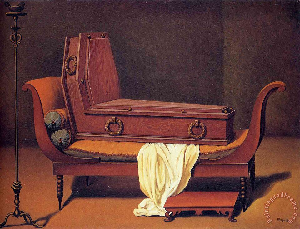 rene magritte Perspective Madame Recamier by David 1949 Art Print
