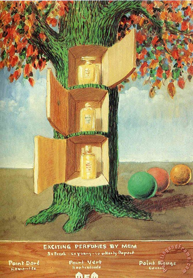 rene magritte Poster Exciting Perfumes by Mem 1946 Art Print