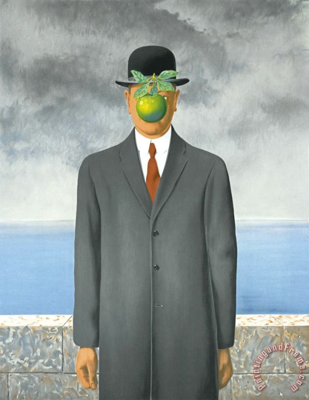 Son of Man, 1964 painting - rene magritte Son of Man, 1964 Art Print