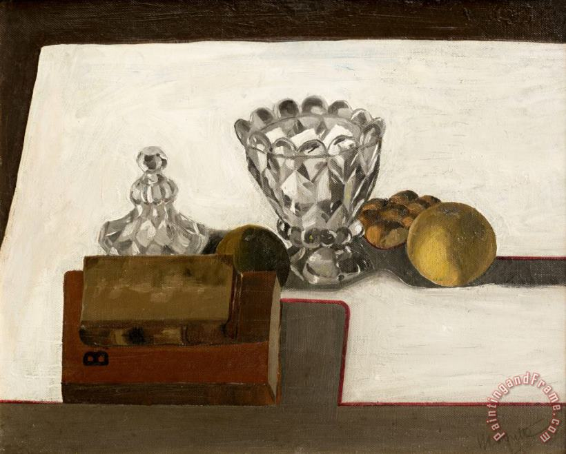 Sugar Bowl with Fruit And Books, 1923 painting - rene magritte Sugar Bowl with Fruit And Books, 1923 Art Print