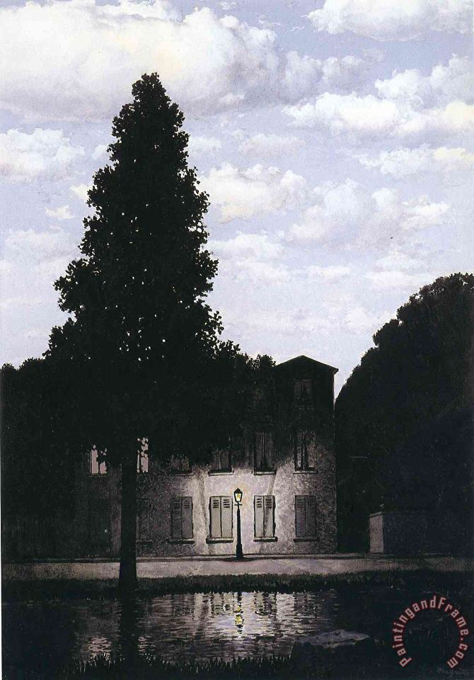 The Empire of Lights 1954 painting - rene magritte The Empire of Lights 1954 Art Print