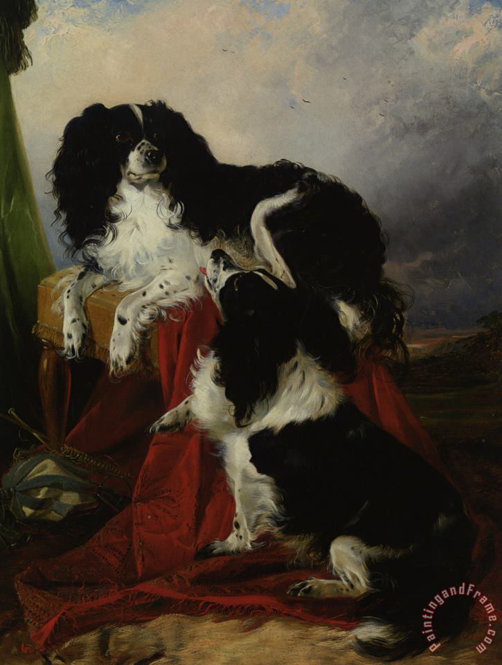 Richard Ansdell King Charles Spaniels Art Print