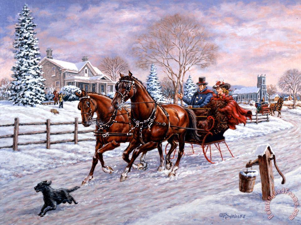 Sleigh Ride painting - Richard De Wolfe Sleigh Ride Art Print