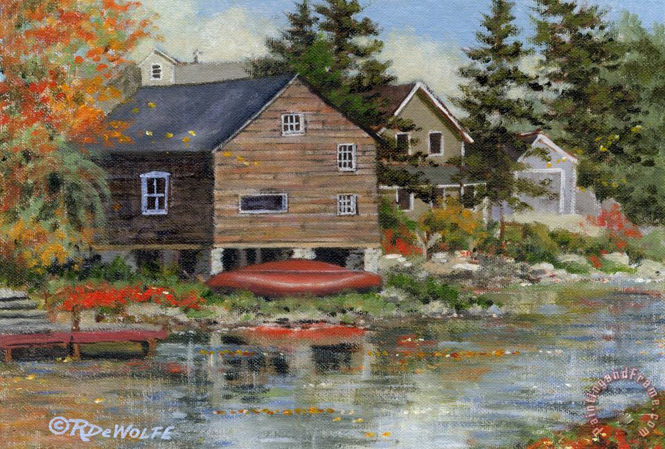 The Red Canoe painting - Richard De Wolfe The Red Canoe Art Print