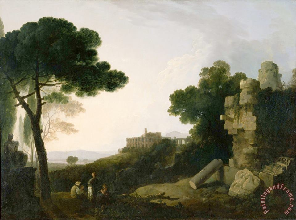 Richard Wilson Landscape Capriccio with Tomb of The Horatii And Curiatii, And The Villa of Maecenas at Tivoli Art Painting