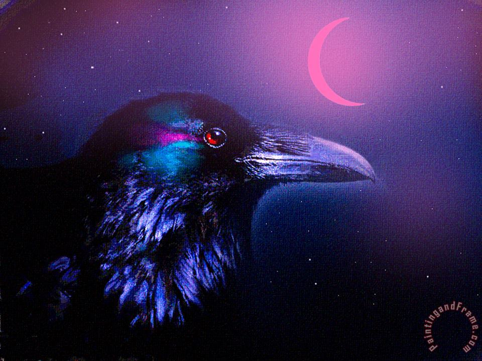Red Moon Raven painting - Robert Foster Red Moon Raven Art Print