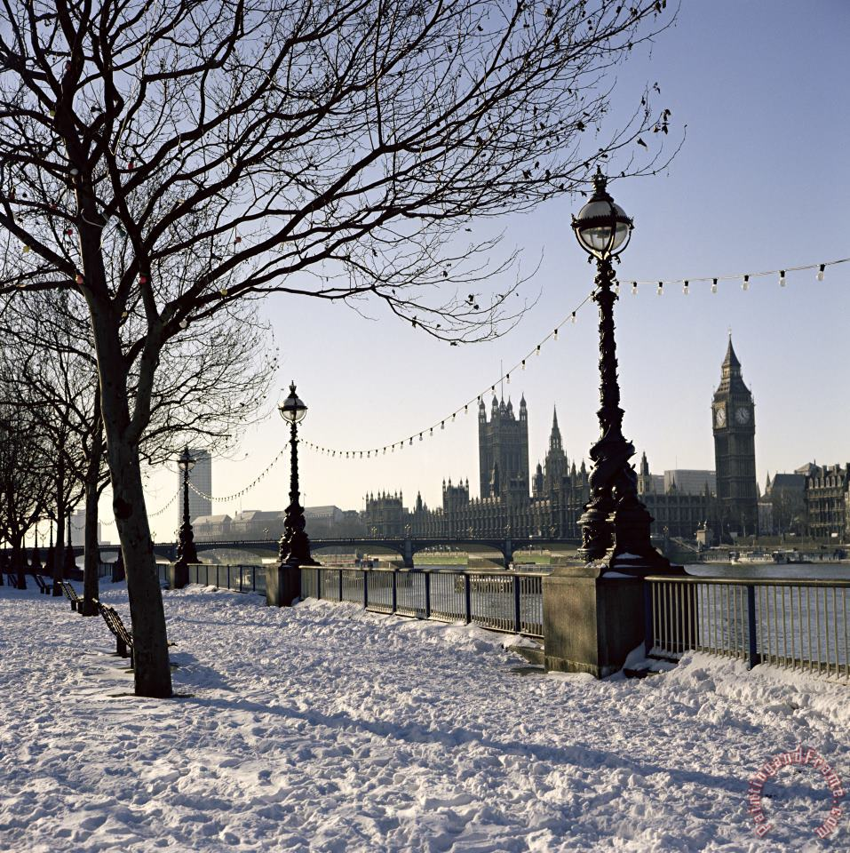 Big Ben Westminster Abbey And Houses Of Parliament In The Snow painting - Robert Hallmann Big Ben Westminster Abbey And Houses Of Parliament In The Snow Art Print