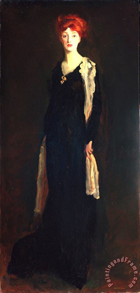 Lady in Black with Spanish Scarf (o in Black with a Scarf) painting - Robert Henri Lady in Black with Spanish Scarf (o in Black with a Scarf) Art Print