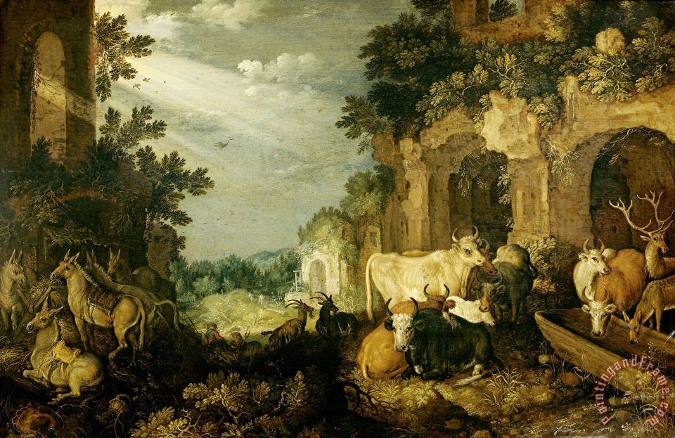 Roelant Savery Landscape with Ruins, Cattle And Deer Art Print