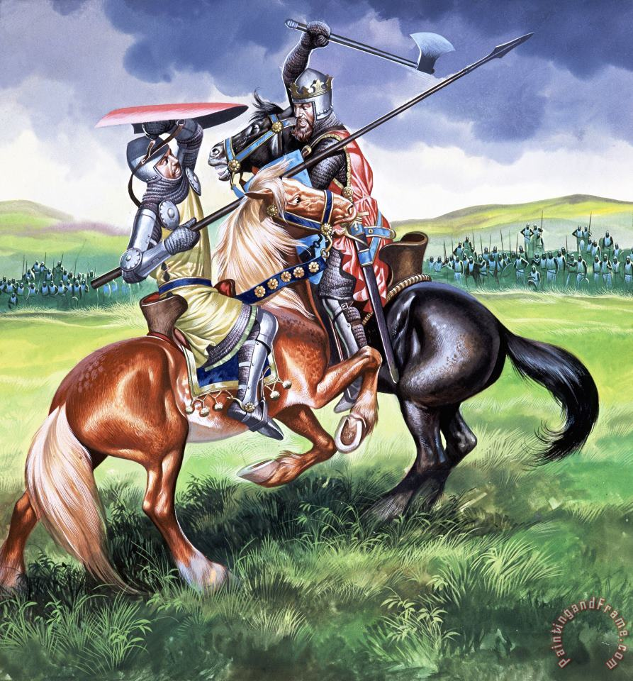 The Battle of Bannockburn painting - Ron Embleton The Battle of Bannockburn Art Print
