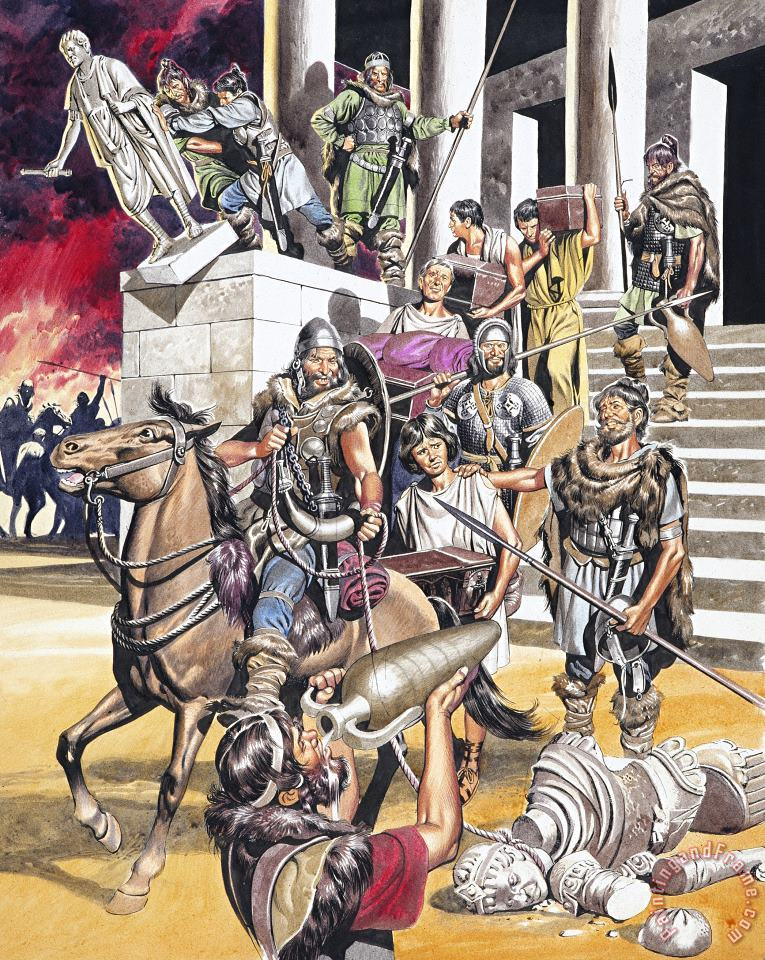 The Fall of the Roman Empire in the West painting - Ron Embleton The Fall of the Roman Empire in the West Art Print