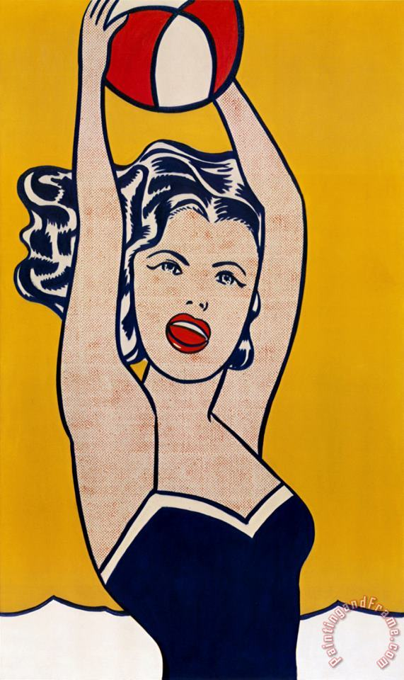 Girl with Ball painting - Roy Lichtenstein Girl with Ball Art Print