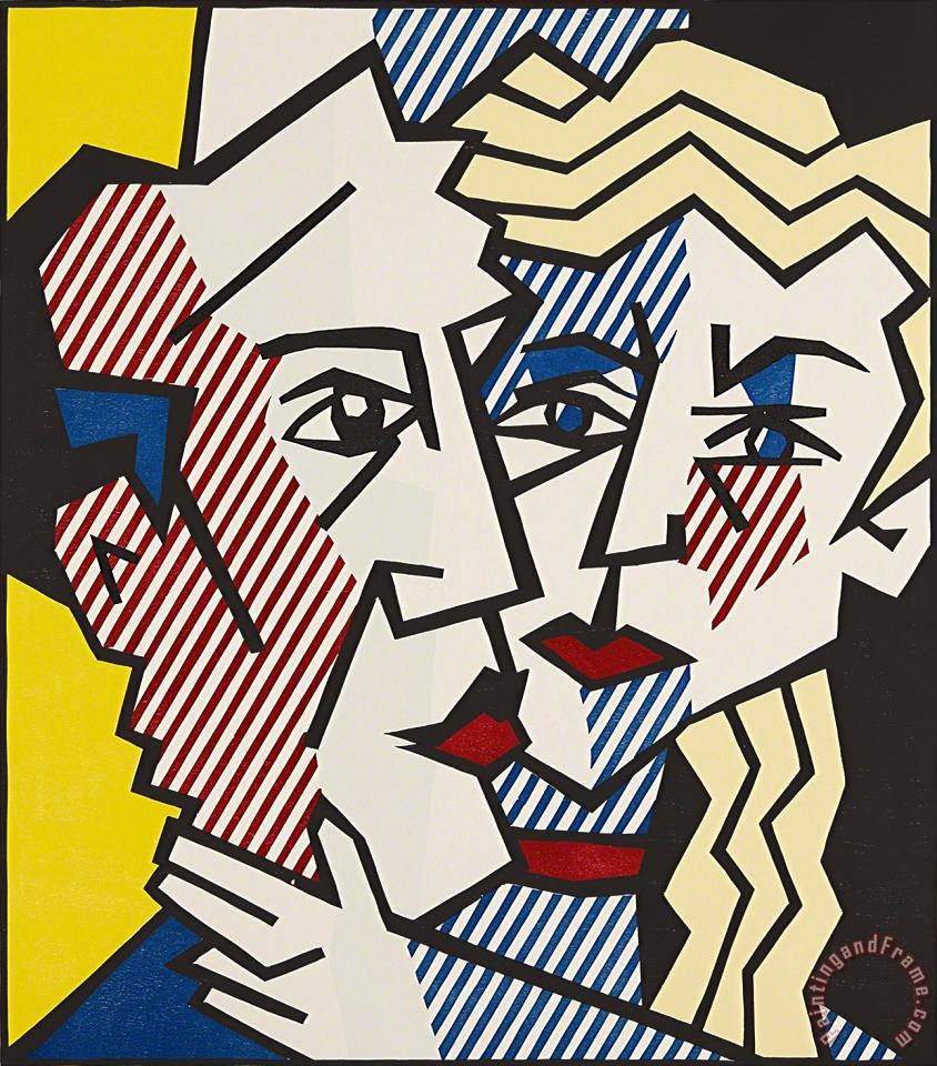 The Couple, From Expressionist Woodcut Series, 1980 painting - Roy Lichtenstein The Couple, From Expressionist Woodcut Series, 1980 Art Print