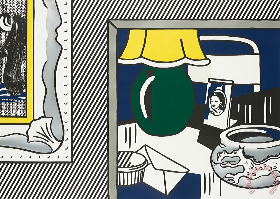 Two Paintings Green Lamp, From Paintings Series, 1984 painting - Roy Lichtenstein Two Paintings Green Lamp, From Paintings Series, 1984 Art Print