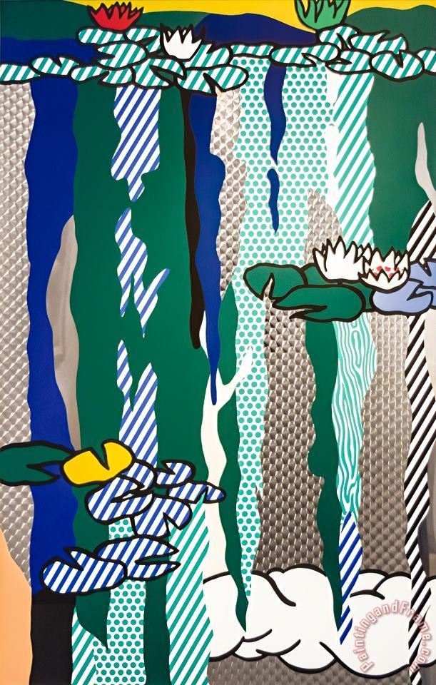 Water Lilies with Cloud, 1992 painting - Roy Lichtenstein Water Lilies with Cloud, 1992 Art Print
