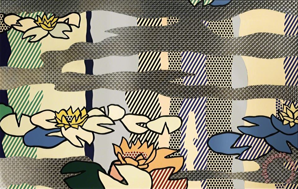 Water Lily Pond with Reflections, 1992 painting - Roy Lichtenstein Water Lily Pond with Reflections, 1992 Art Print