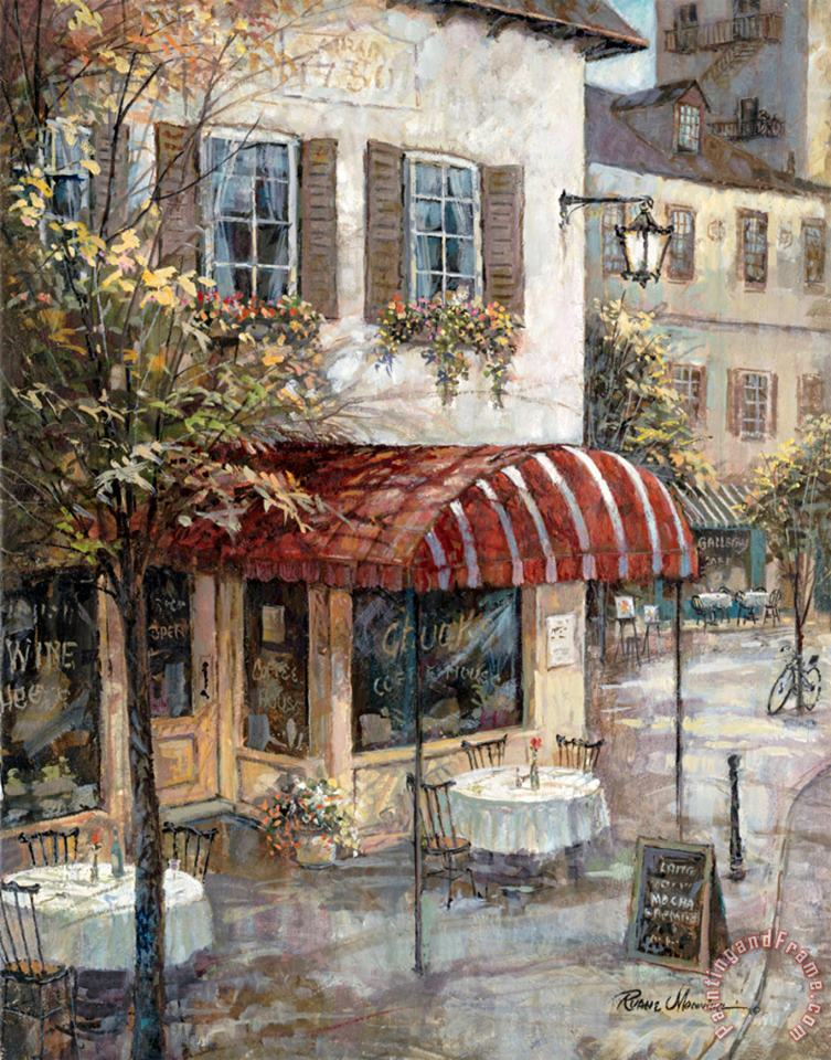 Coffee House Ambiance painting - Ruane Manning Coffee House Ambiance Art Print