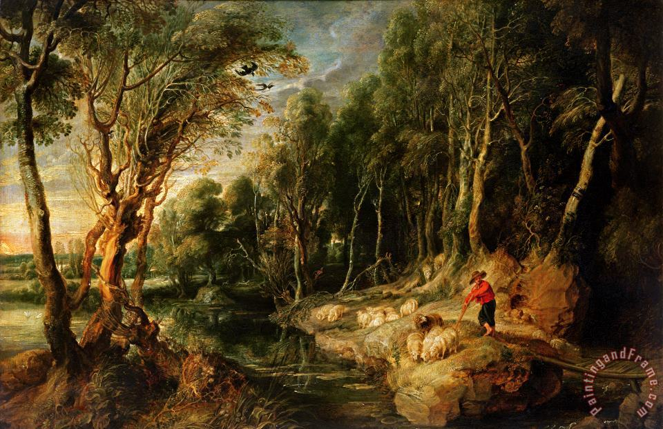 Rubens A Shepherd with his Flock in a Woody landscape Art Painting
