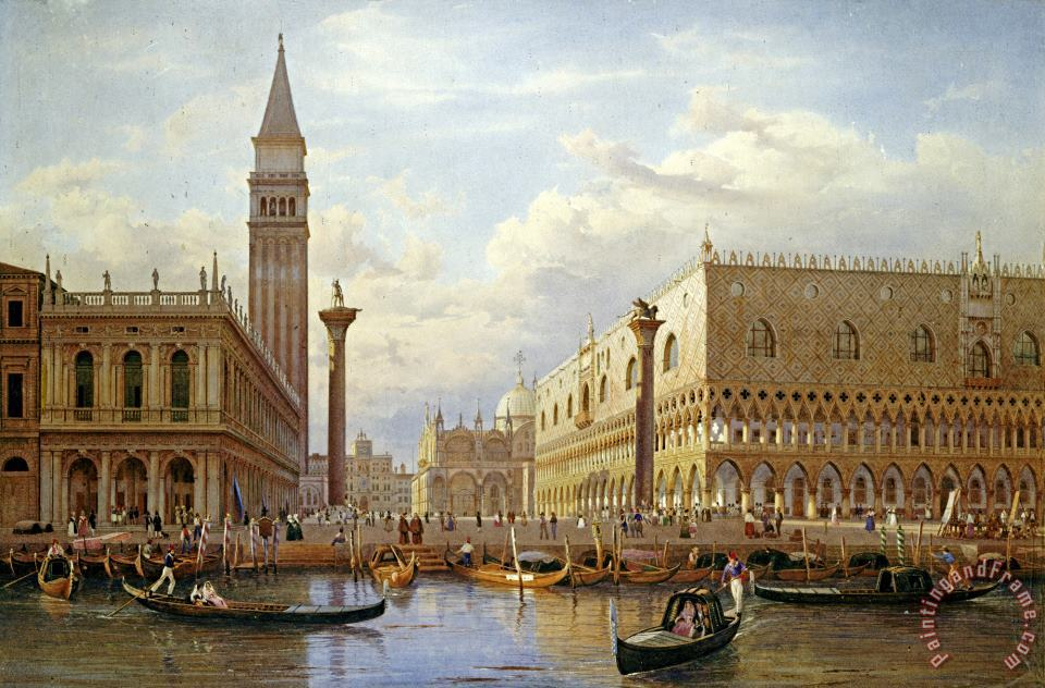 A View of The Piazzetta with The Doges Palace From The Bacino, Venice painting - Salomon Corrodi A View of The Piazzetta with The Doges Palace From The Bacino, Venice Art Print