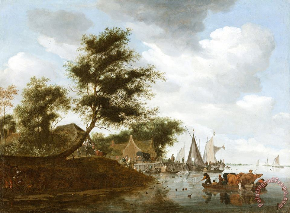 River Landscape with Ferry 2 painting - Salomon van Ruysdael River Landscape with Ferry 2 Art Print