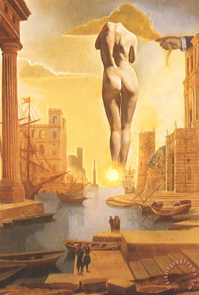 Dali S Hand Drawing Back The Golden Fleece in The Form of a Cloud to Show Gala Completely Nude painting - Salvador Dali Dali S Hand Drawing Back The Golden Fleece in The Form of a Cloud to Show Gala Completely Nude Art Print