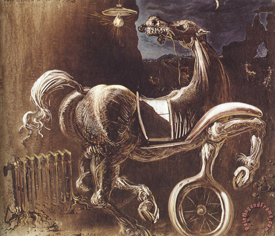 Debris of an Automobile Giving Birth to a Blind Horse Biting a Telephone painting - Salvador Dali Debris of an Automobile Giving Birth to a Blind Horse Biting a Telephone Art Print