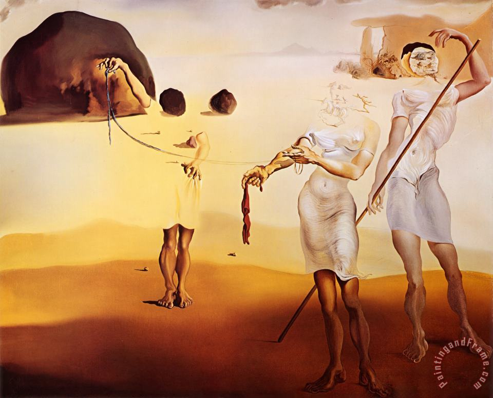 Salvador Dali Enchanted Beach with Three Fluid Graces Art Painting