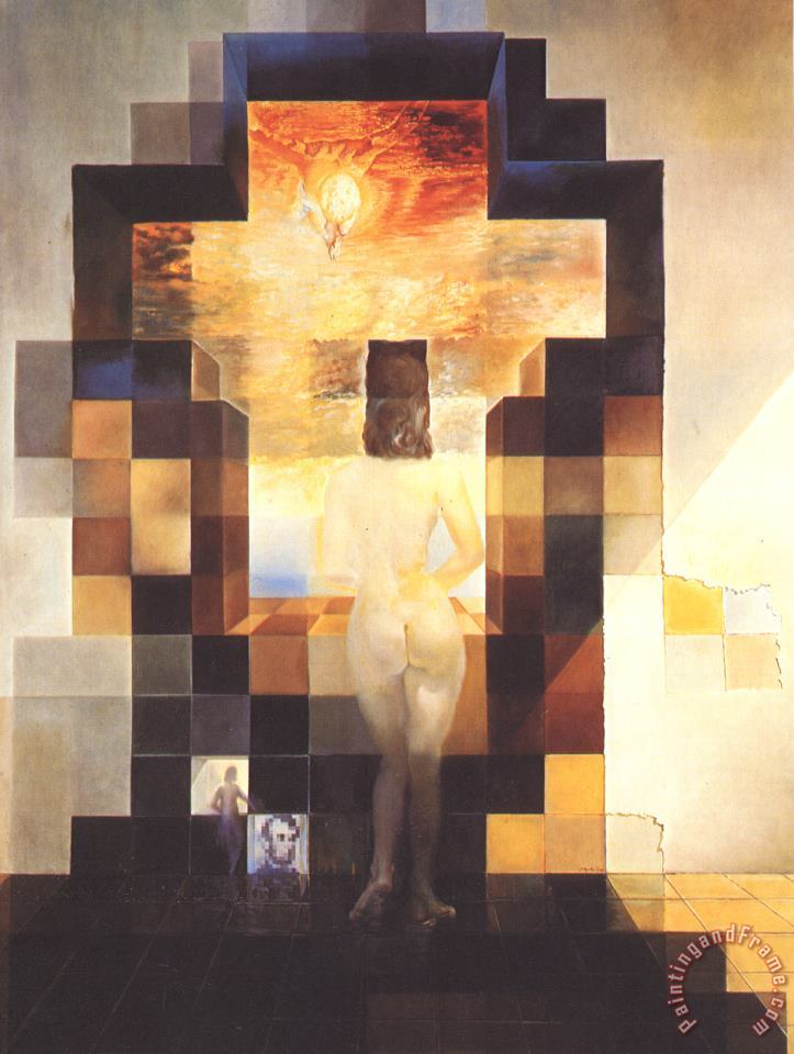 Salvador Dali Gala Contemplating The Mediterranean Sea Which at Eighteen Metres Becomes The Portrait of 1976 Art Painting