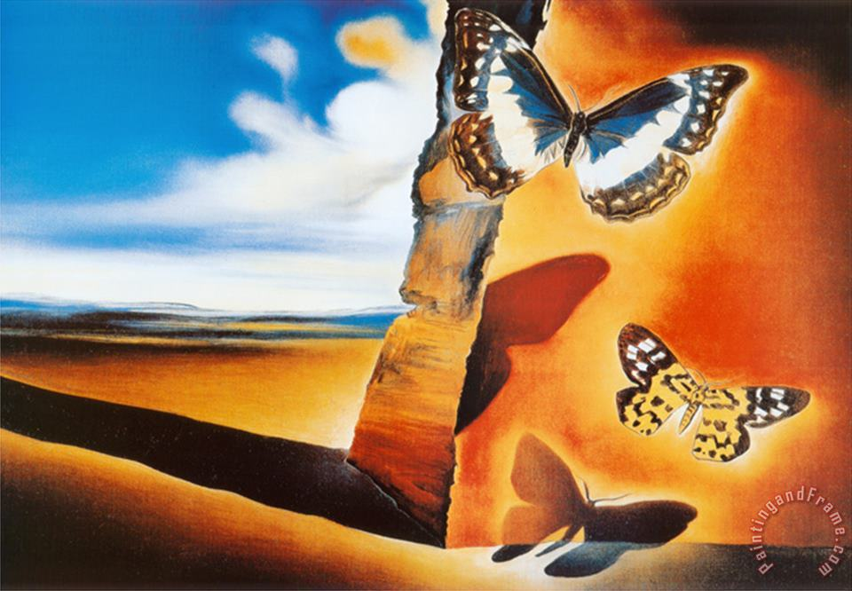 Landscape with Butterflies painting - Salvador Dali Landscape with Butterflies Art Print