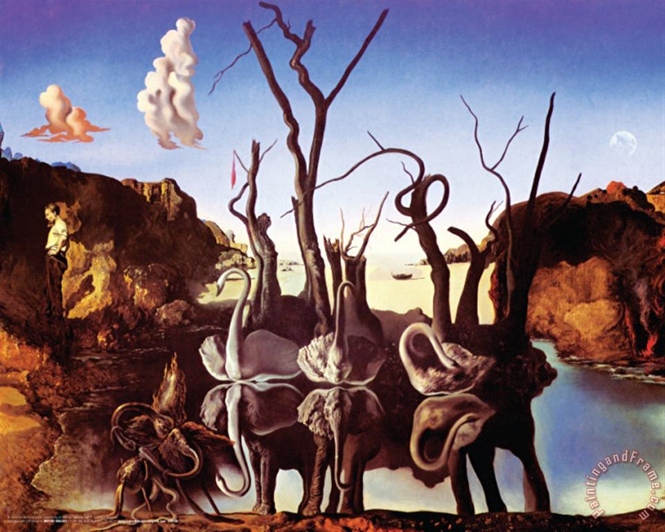 Reflection of Elephants painting - Salvador Dali Reflection of Elephants Art Print