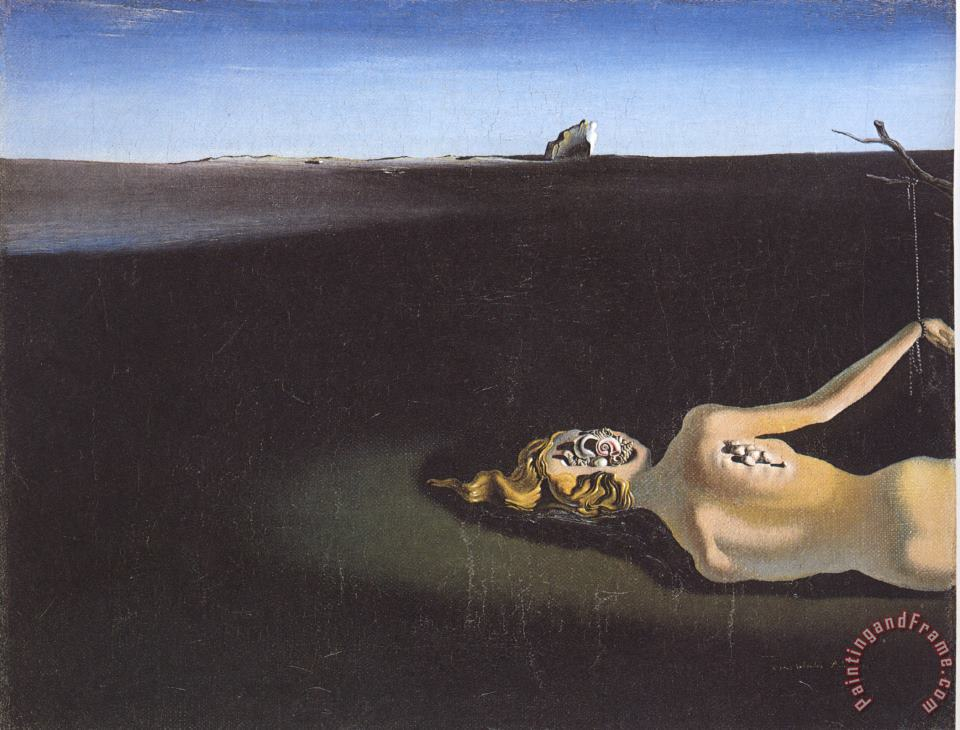 Woman Sleeping in a Landscape painting - Salvador Dali Woman Sleeping in a Landscape Art Print