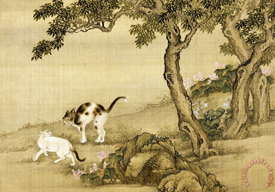 Album of Birds And Animals (cats) painting - Shen Nanpin Album of Birds And Animals (cats) Art Print