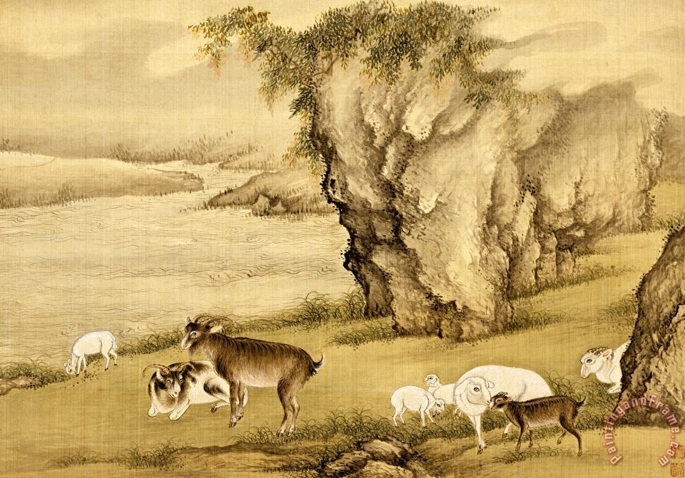 Shen Nanpin Album of Birds And Animals (sheep And Goats) Art Print