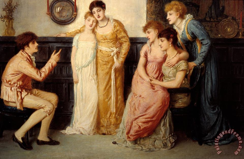 A Youth Relating Tales to Ladies painting - Simeon Solomon A Youth Relating Tales to Ladies Art Print