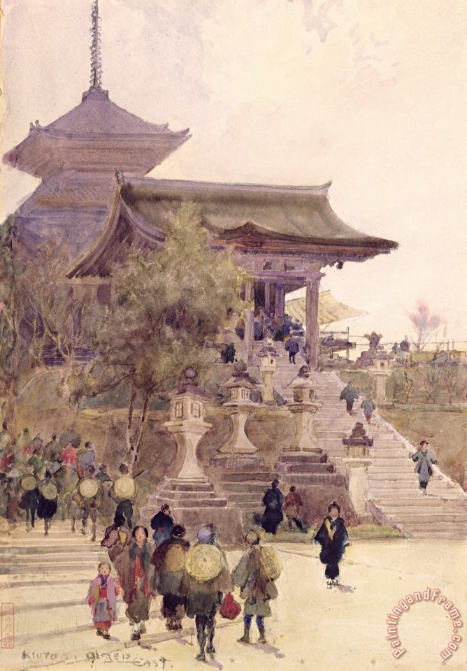 The Entrance To The Temple Of Kiyomizu Dera Kyoto painting - Sir Alfred East The Entrance To The Temple Of Kiyomizu Dera Kyoto Art Print