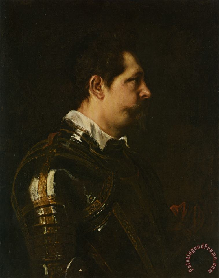 Portrait of a Military Commander Bust Length in Profile in Damascened Armour with White Collar And Red Sash painting - Sir Antony Van Dyck Portrait of a Military Commander Bust Length in Profile in Damascened Armour with White Collar And Red Sash Art Print