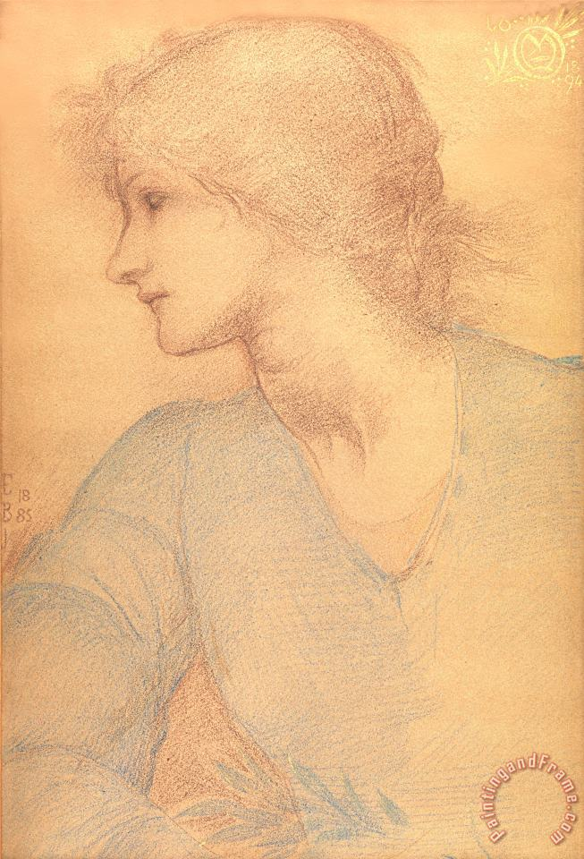 Study in Colored Chalk painting - Sir Edward Burne-Jones Study in Colored Chalk Art Print