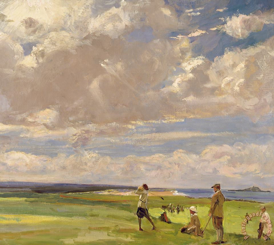 Lady Astor Playing Golf At North Berwick painting - Sir John Lavery Lady Astor Playing Golf At North Berwick Art Print