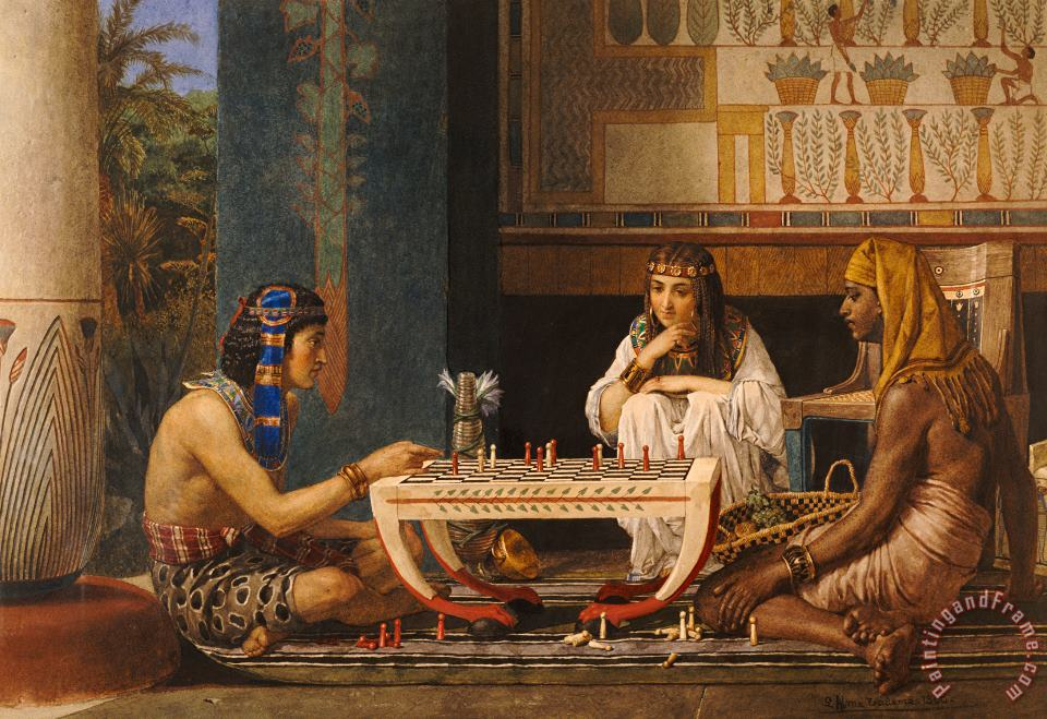 Egyptian Chess Players painting - Sir Lawrence Alma-Tadema Egyptian Chess Players Art Print