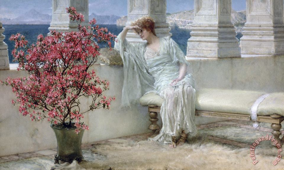Sir Lawrence Alma-Tadema Her eyes are with her thoughts and they are far away Art Print