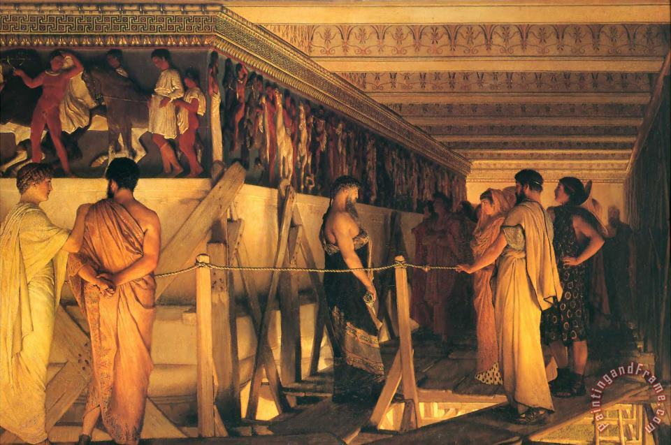 Phidias Showing The Frieze of The Parthenon to His Friends painting - Sir Lawrence Alma-Tadema Phidias Showing The Frieze of The Parthenon to His Friends Art Print